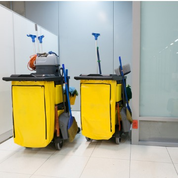 Two janitorial carts at a Business Cleaning Company in Peoria IL