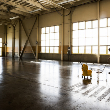 A freshly cleaned warehouse floor, a part of Industrial Cleaning Services in Peoria IL